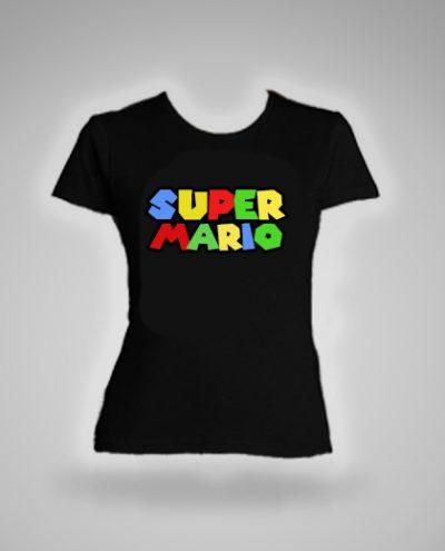 camiseta negra para mujer super mario