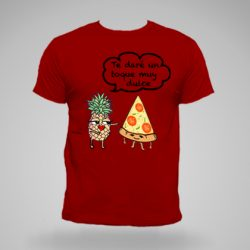 Camiseta roja hombre con piña y pizza