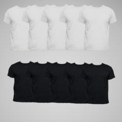 pack de camisetas blanco y negro