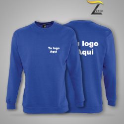 Sudadera Azul Personalizada con logo Blanco