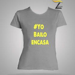 camiseta Gris Bailo en casa Mujer-covid-19