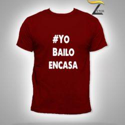 Camiseta roja Bailo en casa
