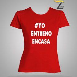 Camiseta Roja entreno en casa mujer covid-19