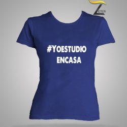 Camiseta azul estudio en casa mujer-covid-19