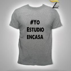 Camiseta gris estudio en casa Hombre-covid-19