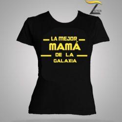Camiseta Negra la mejor mamá de la galaxia