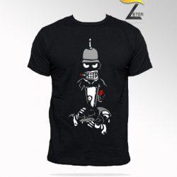 Camiseta negra Robot con el gato