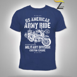 Camiseta Army Ride Motorcycle Azul